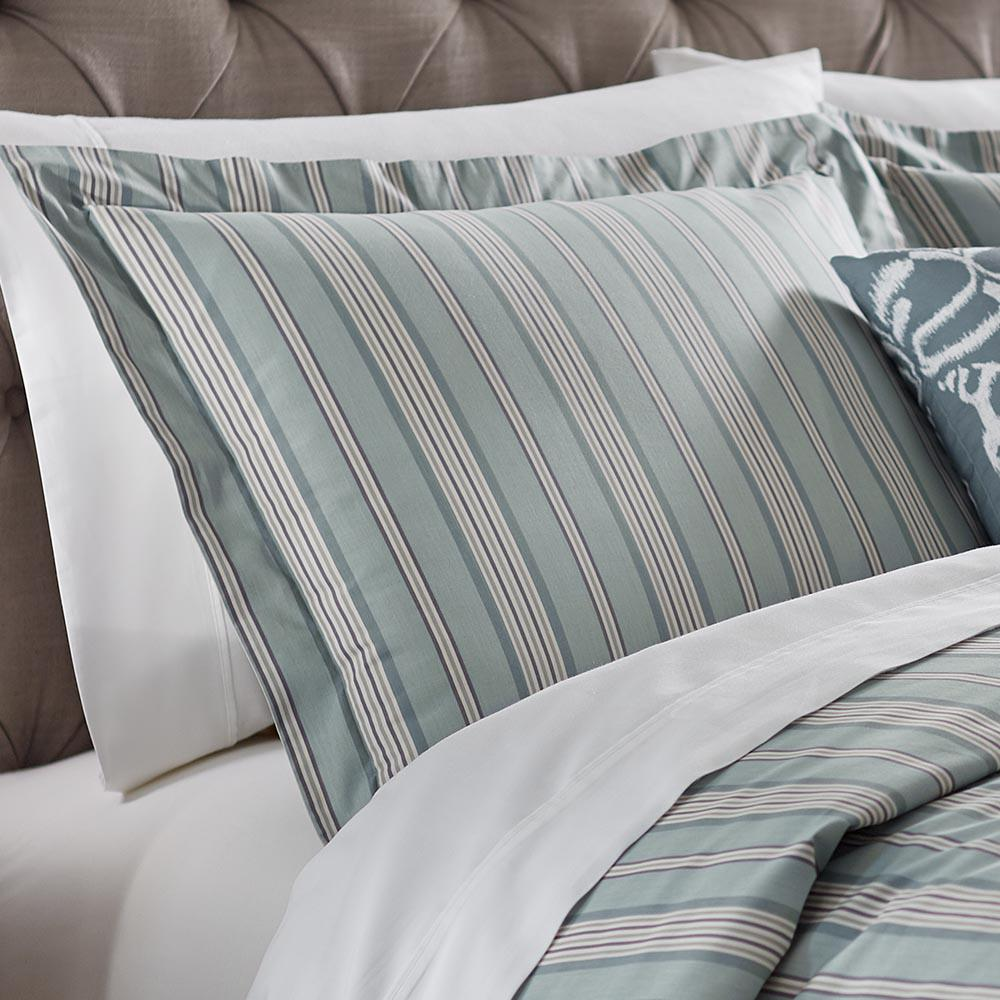 Home Decorators Collection Nuri Striped Blue Haze Standard Pillow Sham
