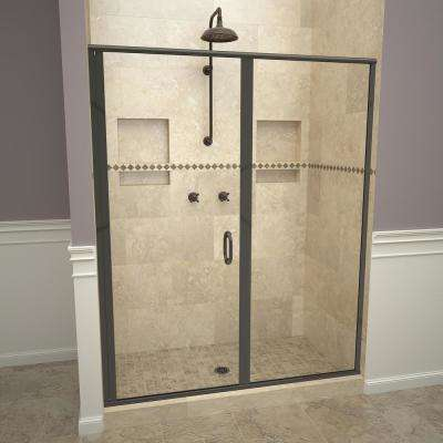 1200 Series 58 in.W x 72-1/8in.H Semi-Frameless Swing Shower Door in Oil Rubbed Bronze with Handles and Clear Glass