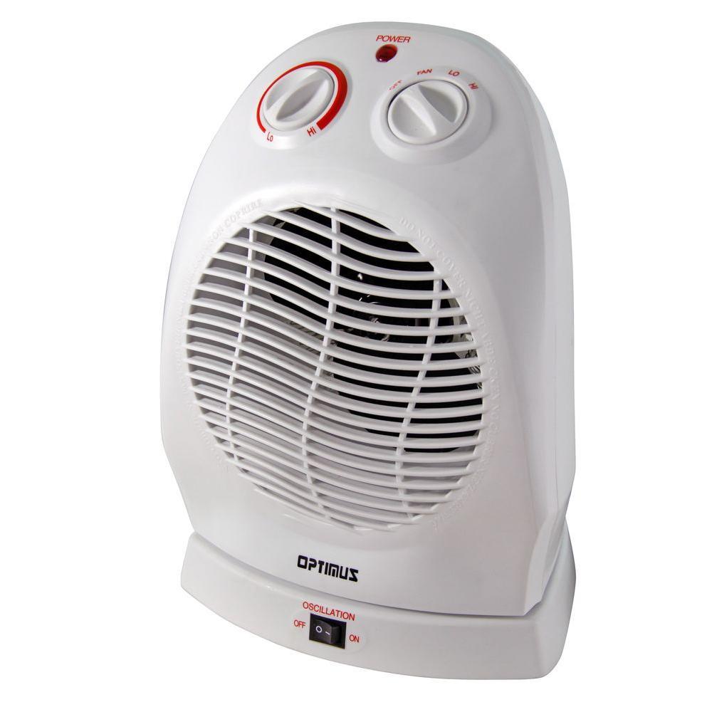 Optimus 750-Watt to 1500-Watt Oscillating Portable Fan Heater with Thermostat