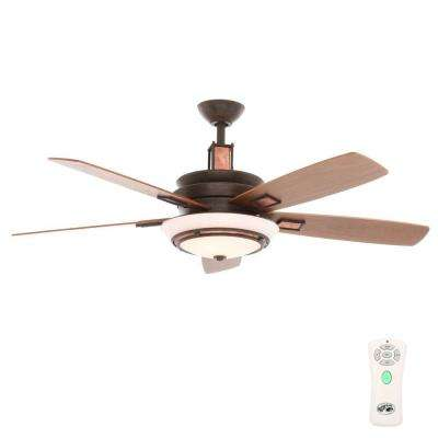 Sullivan 54 in. Indoor Iron Oxide/Copper Plated Ceiling Fan with Light Kit and Remote Control