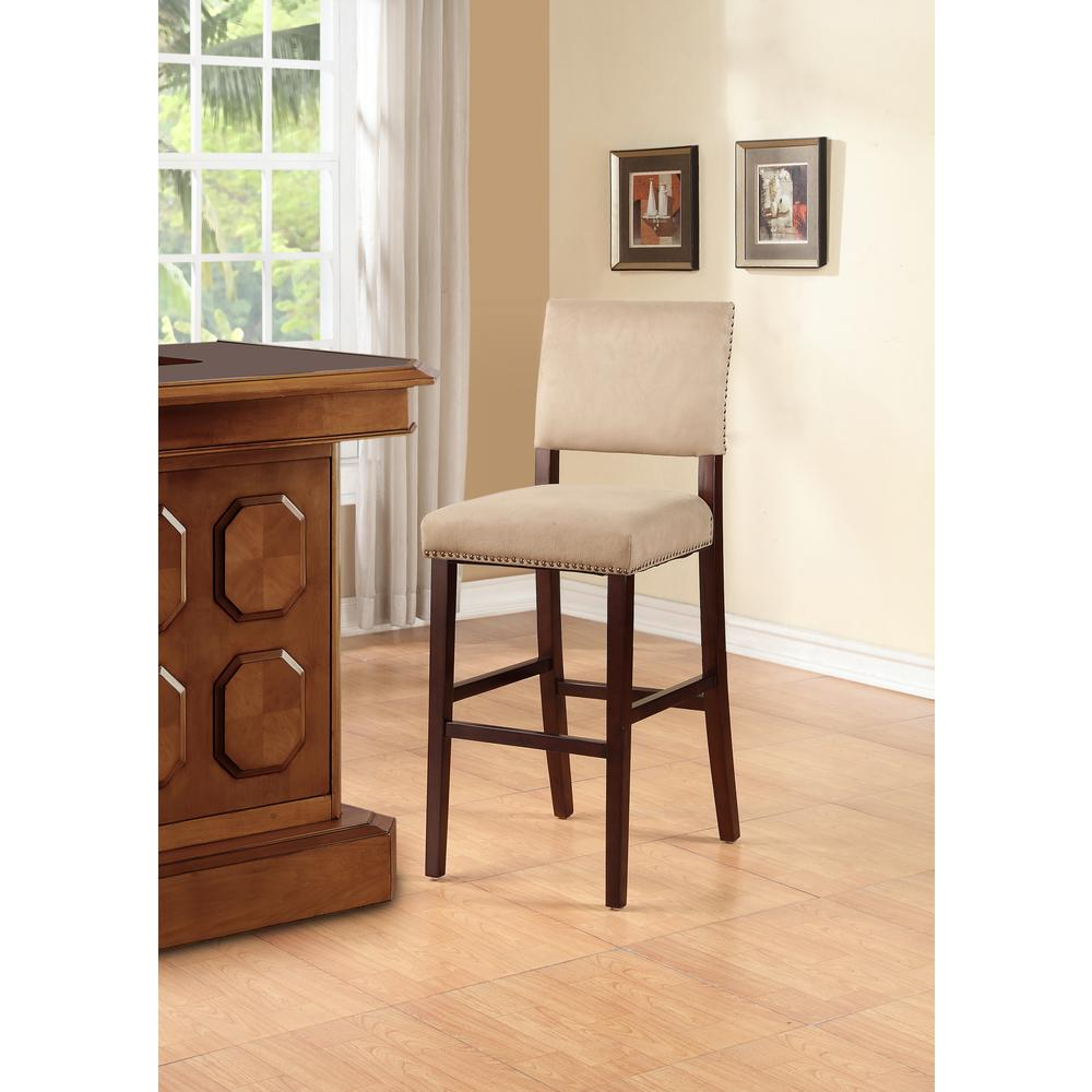 LinonHomeDecor Linon Home Decor Corey 30 in. Stone Cushioned Bar Stool, Stone/Brown