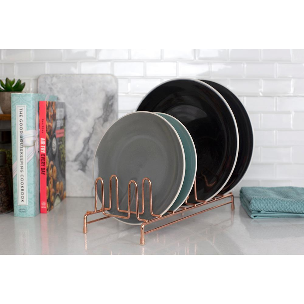 8 Slot Copper Coated Steel Free-Standing Plate Rack with Non-Skid Feet