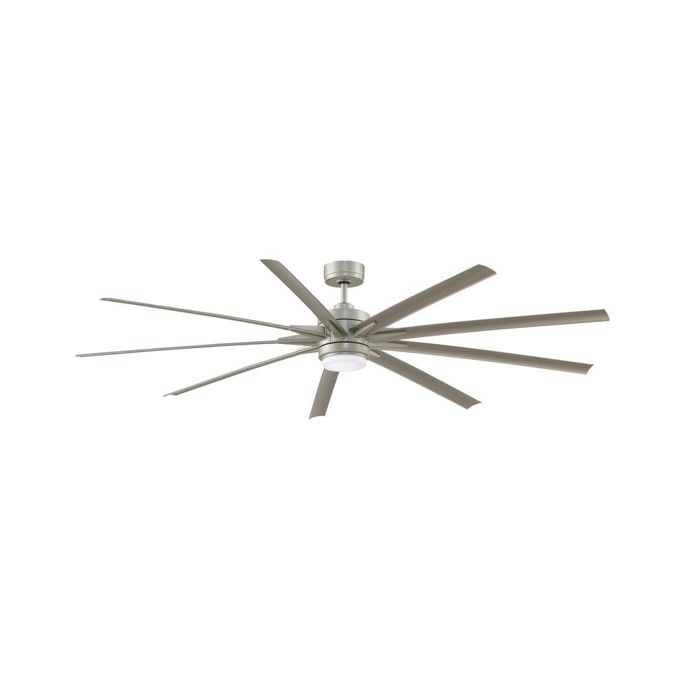 Odyn 84 in. LED Indoor/Outdoor Brushed Nickel with Nickel Blades DC Ceiling Fan with Light Kit and Remote