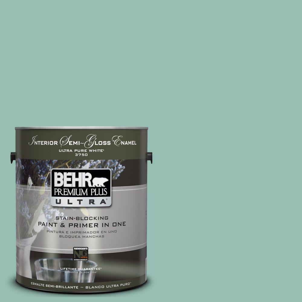 BEHR Premium Plus Ultra 1-gal. #UL220-4 Spring Stream Interior Semi-Gloss Enamel Paint