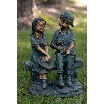 Alpine Corporation Outdoor Girl and Boy Sitting on Bench with Puppy Statue