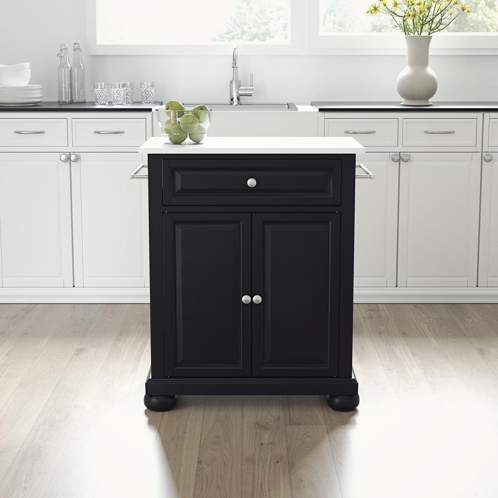 Alexandria Black Portable Kitchen Island with Granite Top