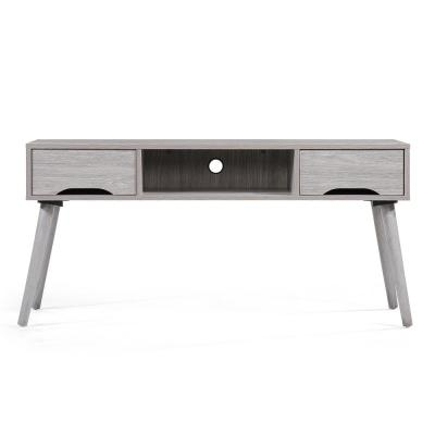 47 in. Grey Oak Wood TV Console with 2 Drawer Fits TVs Up to 44 in. with Cable Management