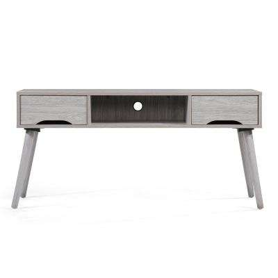 Oak Gray TV Console with 2 Drawers and 1 Open Shelf
