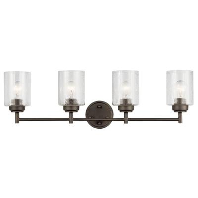Winslow 4.75 in. 4-Light Olde Bronze Vanity Light with Seeded Glass Shade