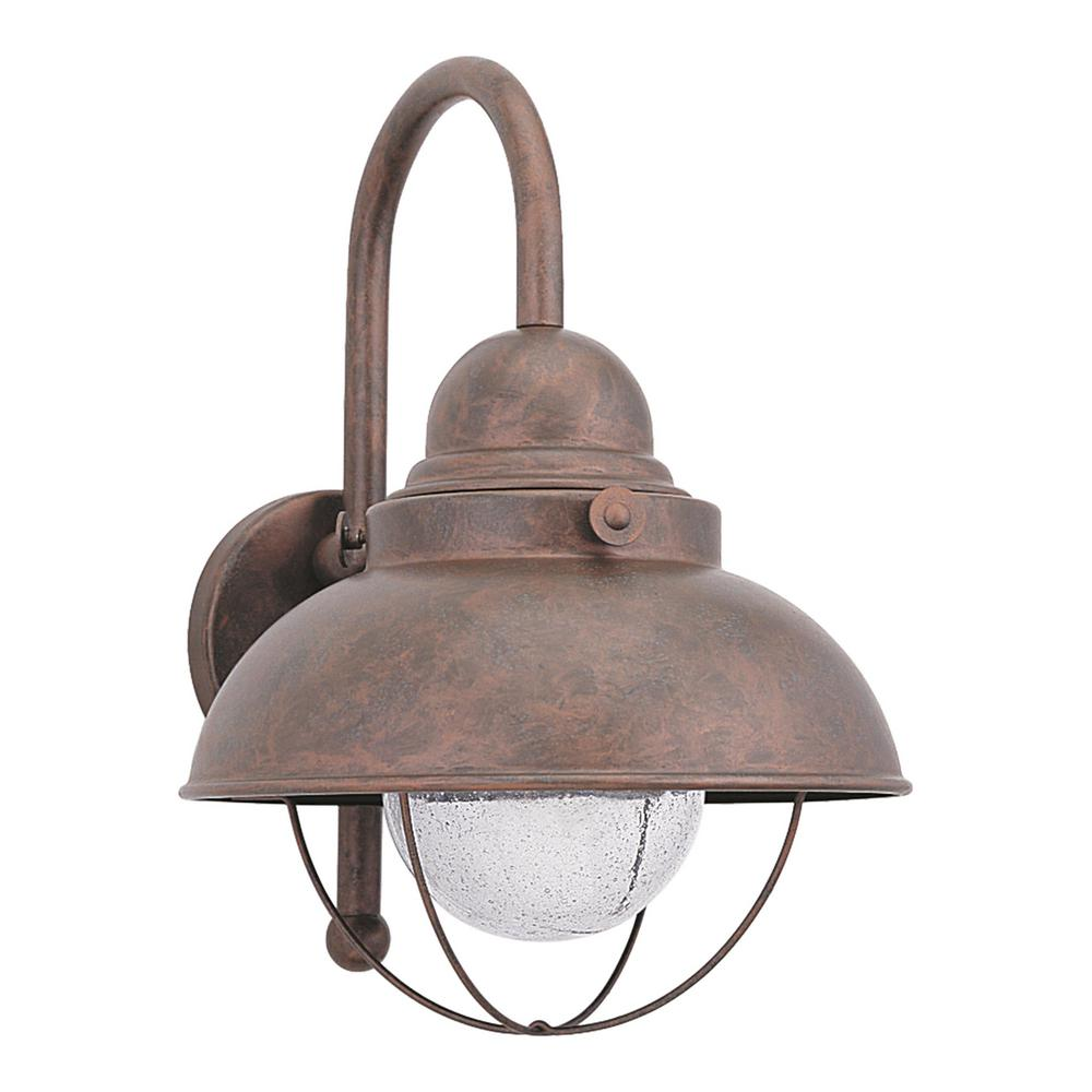 Sea Gull Lighting Sebring Large Weathered Copper Outdoor 15.75 in. Integrated LED Wall Mount Lantern