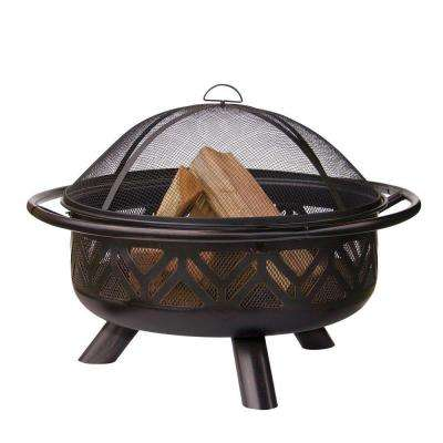 30 in. Geometric Design Oil Rubbed Bronze Fire Pit