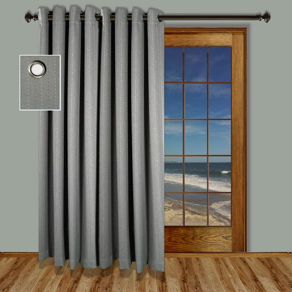 Ricardo Trading Grand Pointe 110 In. W X 84 In. L Polyester Blackout Grommet  Patio Panel In Smoke 01125 79 484 15   The Home Depot