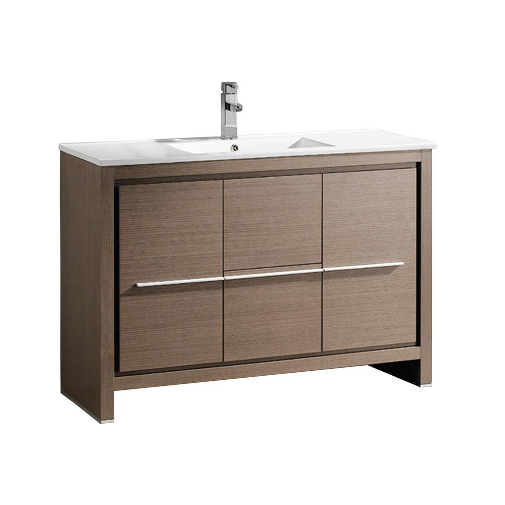 Bath Vanity In Gray Oak With Ceramic Vanity