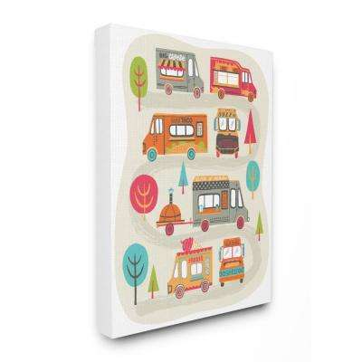 "30 in. x 40 in. ""Mod Illustration Quirky Food Trucks And Trees"" by Allison Cole Canvas Wall Art"