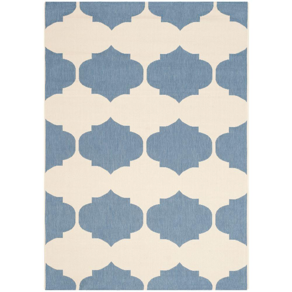 Safavieh Courtyard Beige/Blue 5 ft. 3 in. x 7 ft. 7 in. Indoor/Outdoor Area Rug