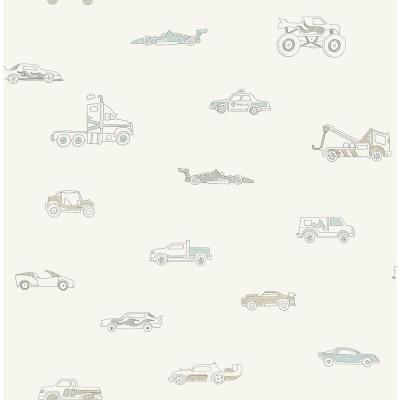 Kids Traffic Jam Blue and Gray Wallpaper