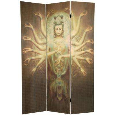 6 ft. Multi Color 3-Panel Thousand Arm Kwan Yin Room Divider