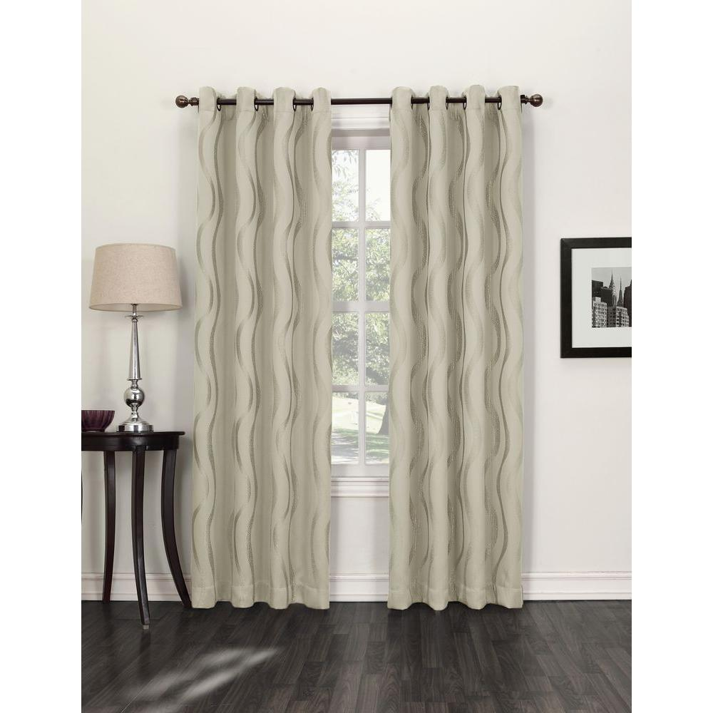 Sun Zero Blackout Ecru (White) Acton Blackout Curtain Pan...