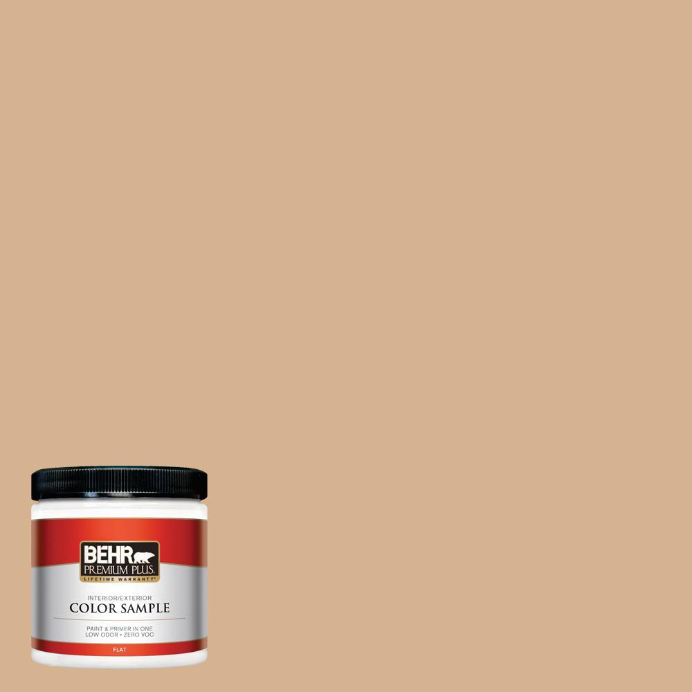 BEHR Premium Plus 8-oz. Home Decorators Collection Creme De Caramel Flat Interior/Exterior Paint Sample