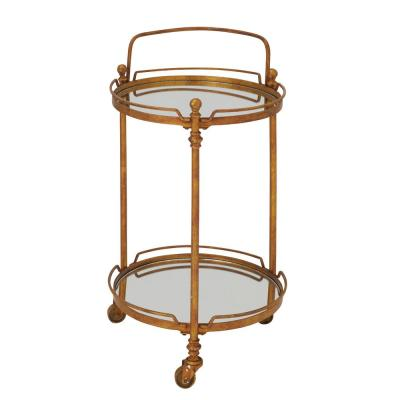 2-Tiered Iron and Glass Round 3-Wheeled Bar Cart in Tarnished Brass Gold