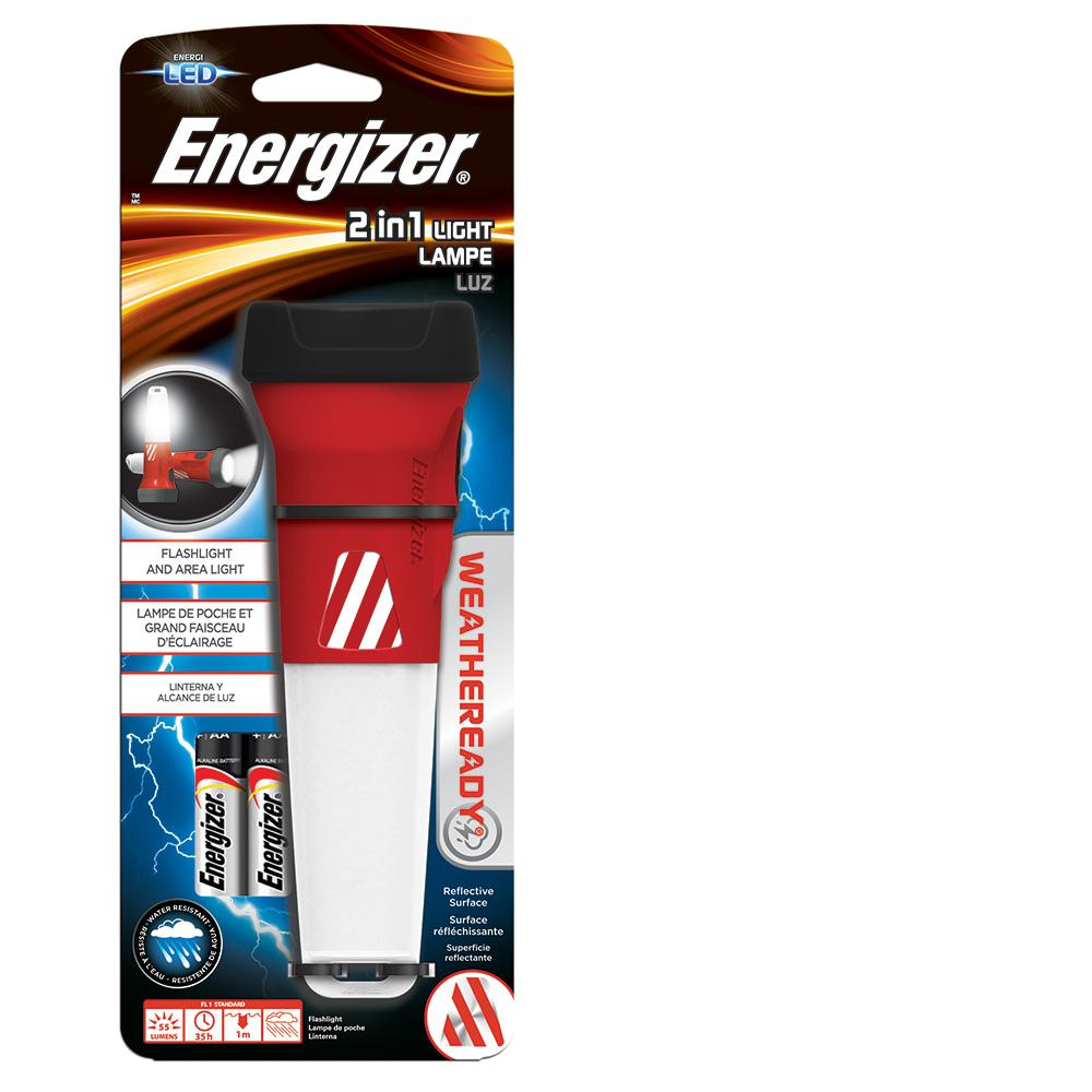 Energizer Weather Ready 2 in 1 Emergency Light, Red