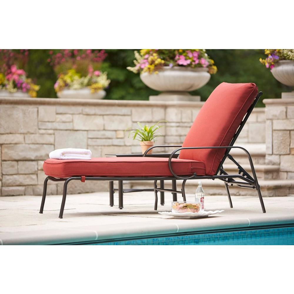 Hampton Bay Middletown Patio Chaise Lounge With Chili