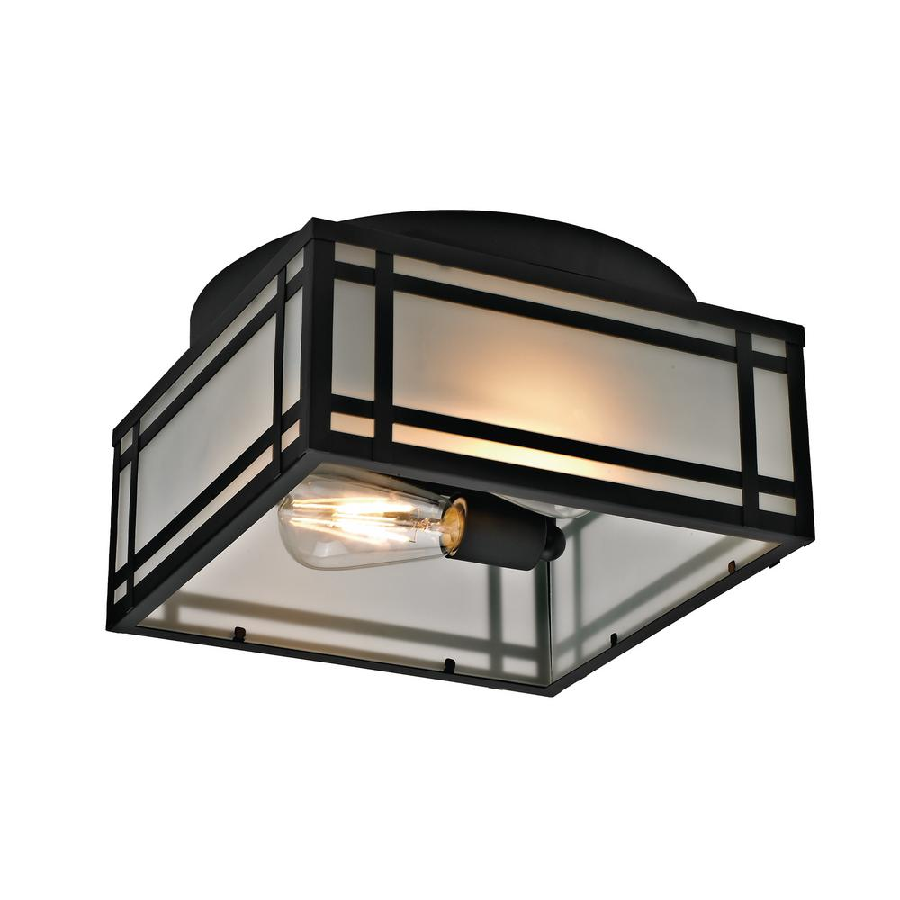 Addington Park 2 Light Mission Style Outdoor Flush Mount With Frosted Gl Black