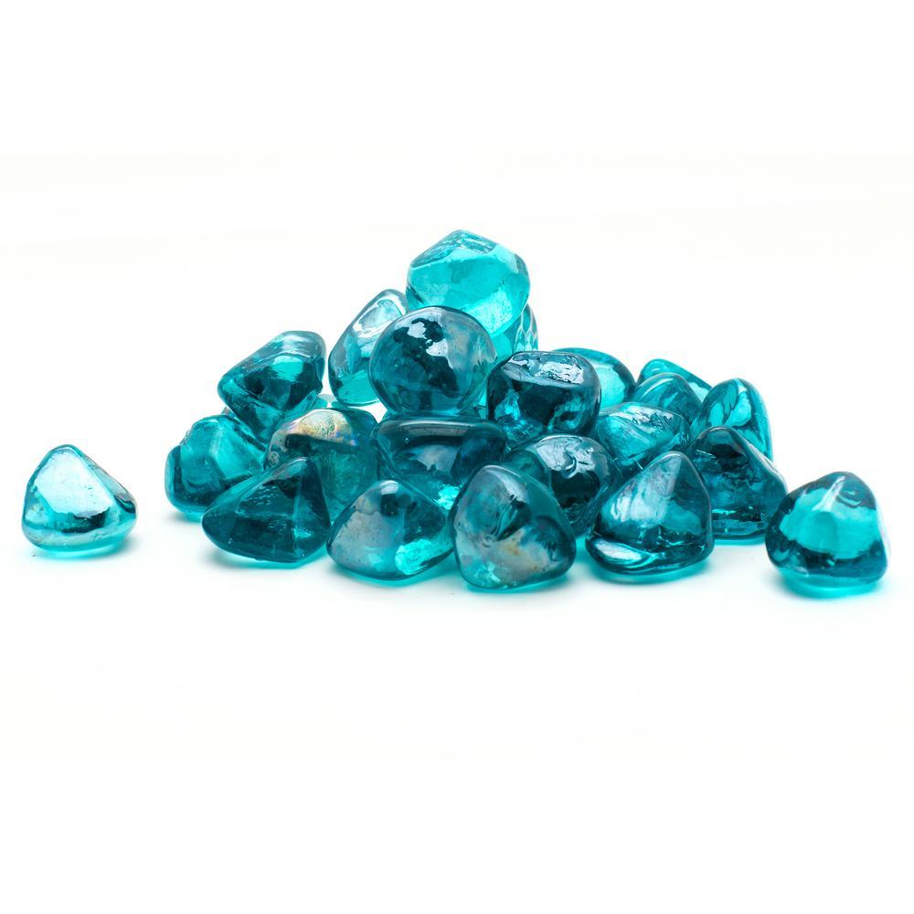 20 lbs. Decorative Fire Glass Aqua Blue Diamonds