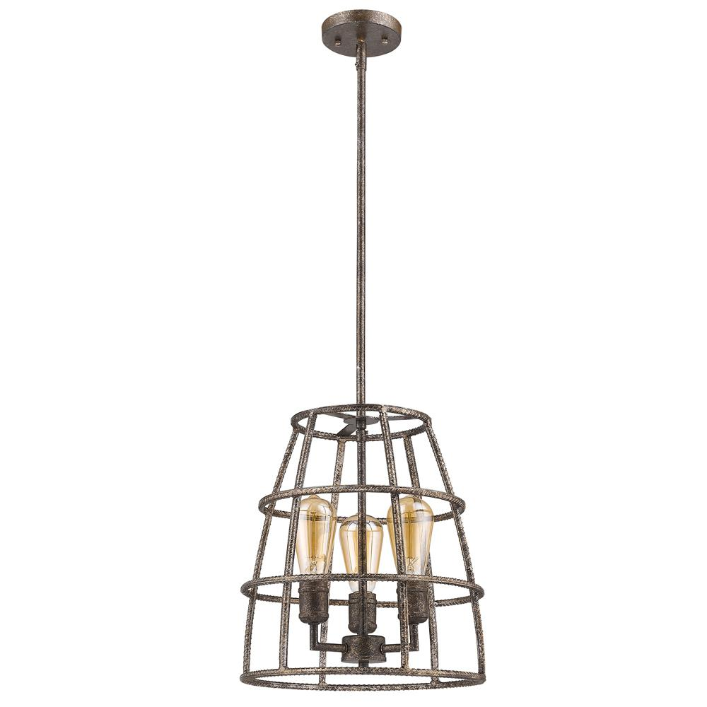 Acclaim Lighting Rebarre 3 Light Antique Silver Drum Pendant With Open Cage Shade