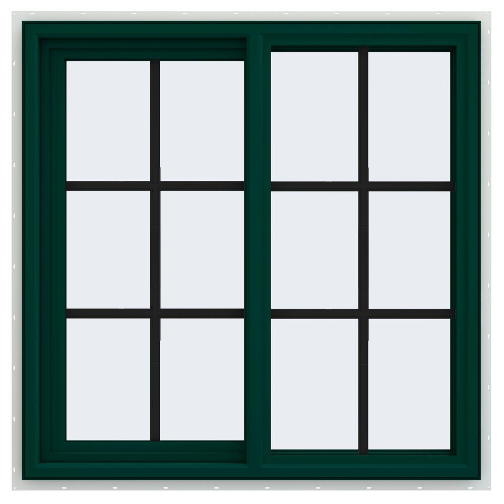 JELD-WEN 35.5 in. x 35.5 in. V-4500 Series Left-Hand Sliding Vinyl Window with Grids - Green