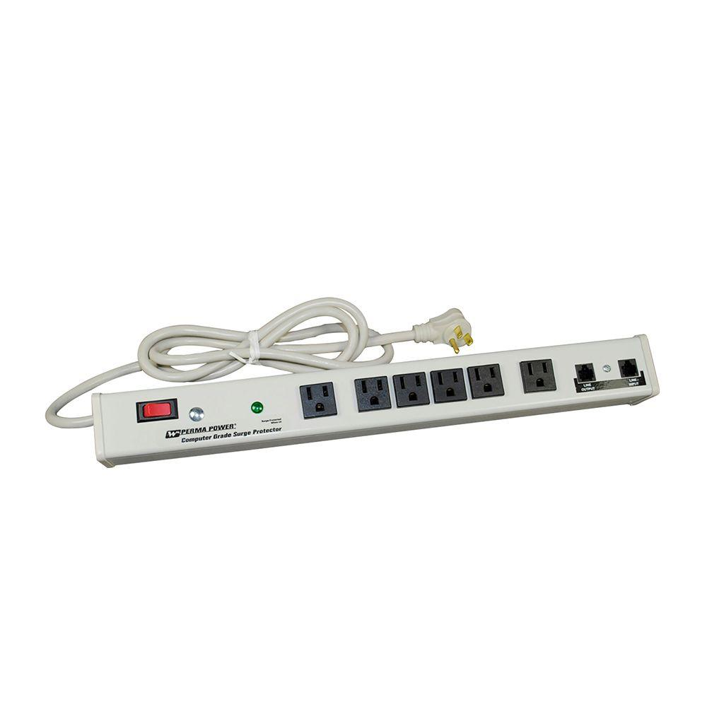 Perma Power 6-Outlet 15-Amp Computer Grade Surge Strip with Lighted On/Off
