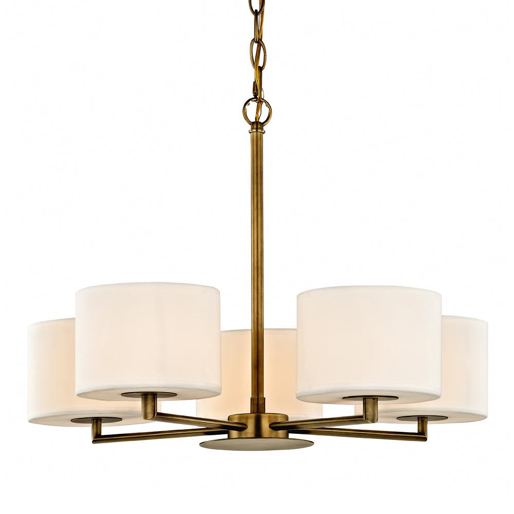 Manhattan 5 light aged brass pendant with cream colored shades