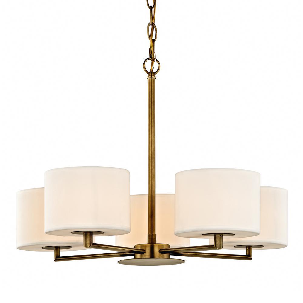 Manhattan 5-Light Aged Brass Pendant with Cream Colored Shades