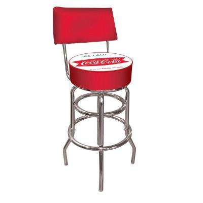 Vintage Coca-Cola Ice Cold Coke 30 in. Chrome Swivel Cushioned Bar Stool