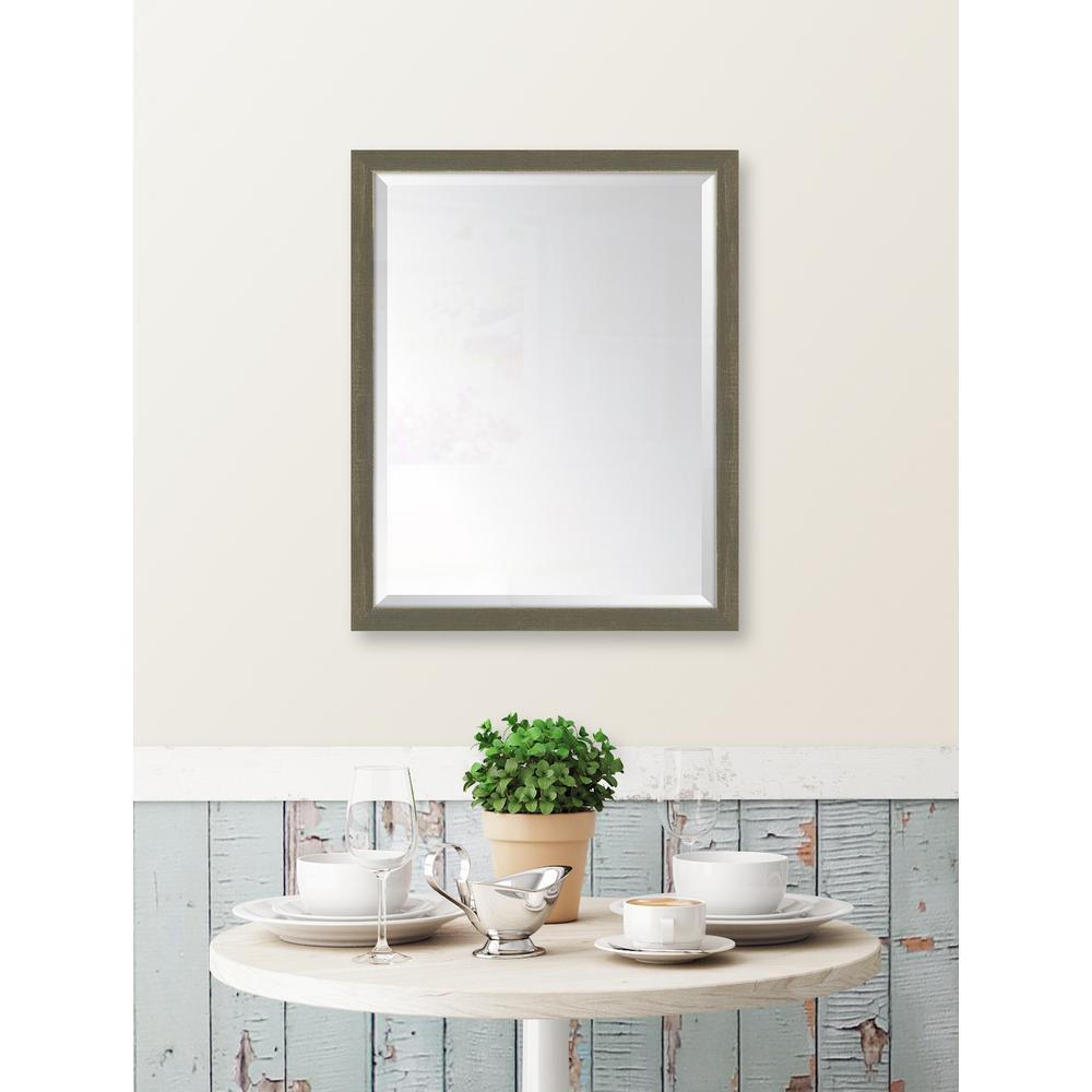 25 in. x 31 in. Framed Farmhouse Brown Mirror