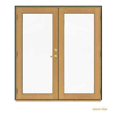 72 in. x 80 in. W-2500 Green Clad Wood Right-Hand Full Lite French Patio Door w/Stained Interior