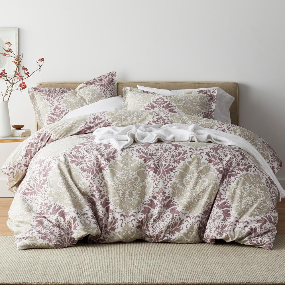 Venetian Damask 3-Piece 200 Thread Count Cotton Percale Queen Duvet Cover Set