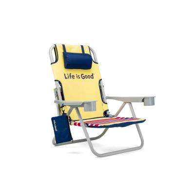Daisy Yellow Aluminum Folding and Reclining Beach Chair