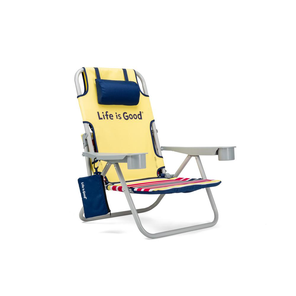 Life Is Good Daisy Yellow Aluminum Folding And Reclining Beach Chair