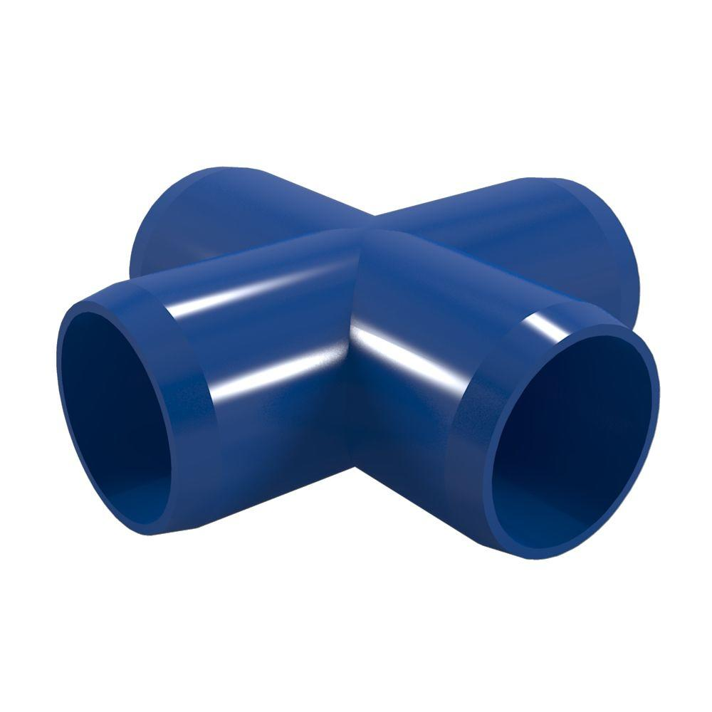 1 in. Furniture Grade PVC Cross in Blue (4-Pack)