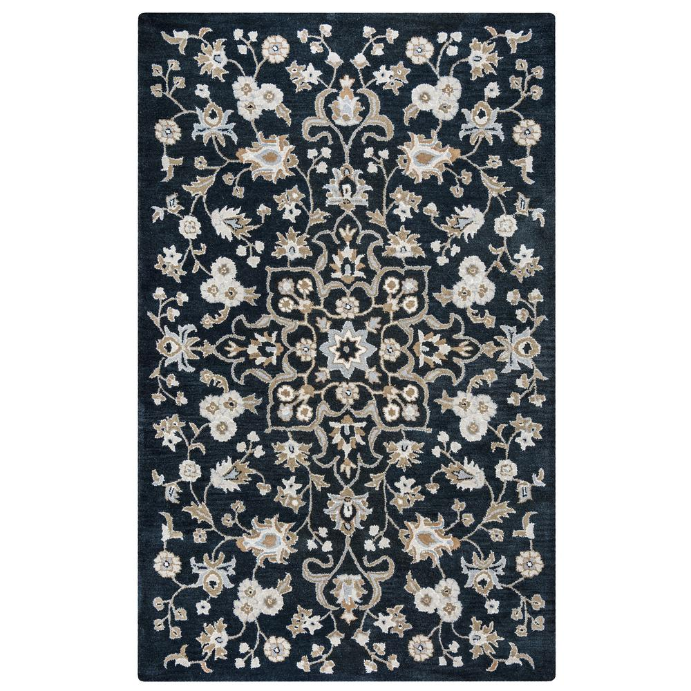 Liberty Black Ivory 9 Ft X 12 Ft Floral Wool Area Rug Liblb102200160912 The Home Depot