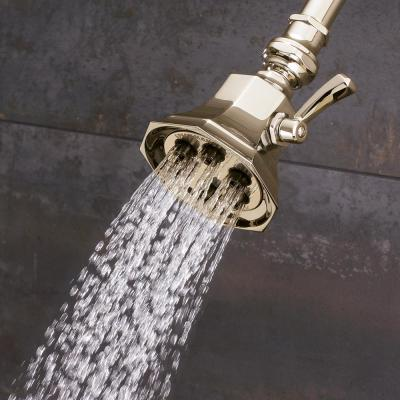 3-Spray 3.4 in. Single Wall MountHigh Pressure Fixed Adjustable Shower Head in Polished Brass