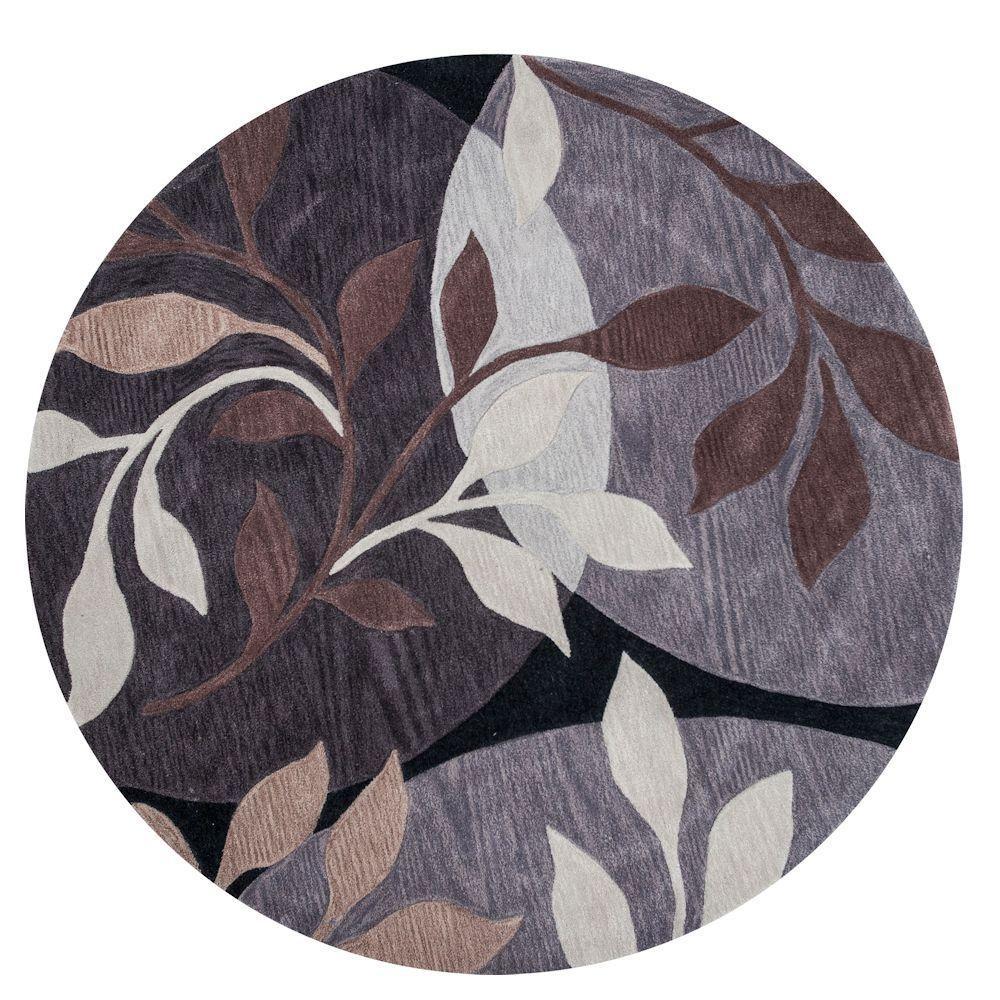 Modern Leaves Rug: Kas Rugs Modern Leaf Plum/Black 5 Ft. 6 In. X 5 Ft. 6 In