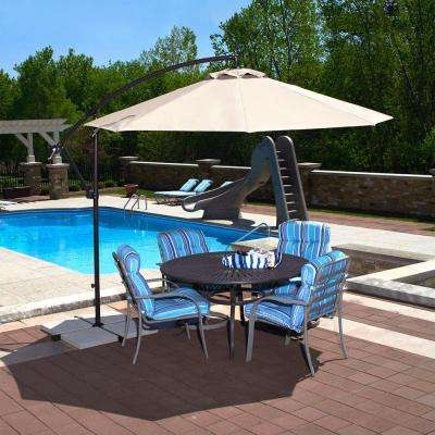 Santiago 10 ft. Octagonal Cantilever Patio Umbrella in Champagne Olefin