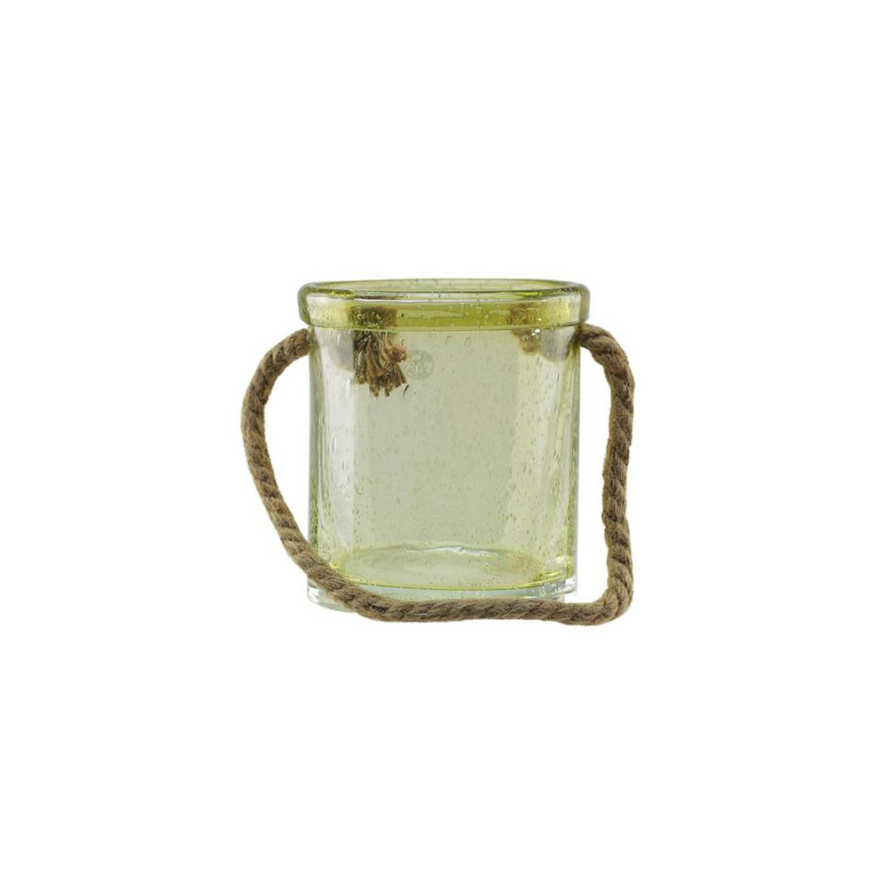 6.5 in. Lemonade Yellow Hand Blown Bubble Glass Hurricane with Jute