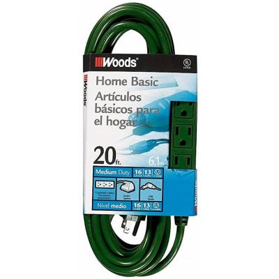 20 ft. Multi-Outlet (3) Extension Cord with Power Tap, Green