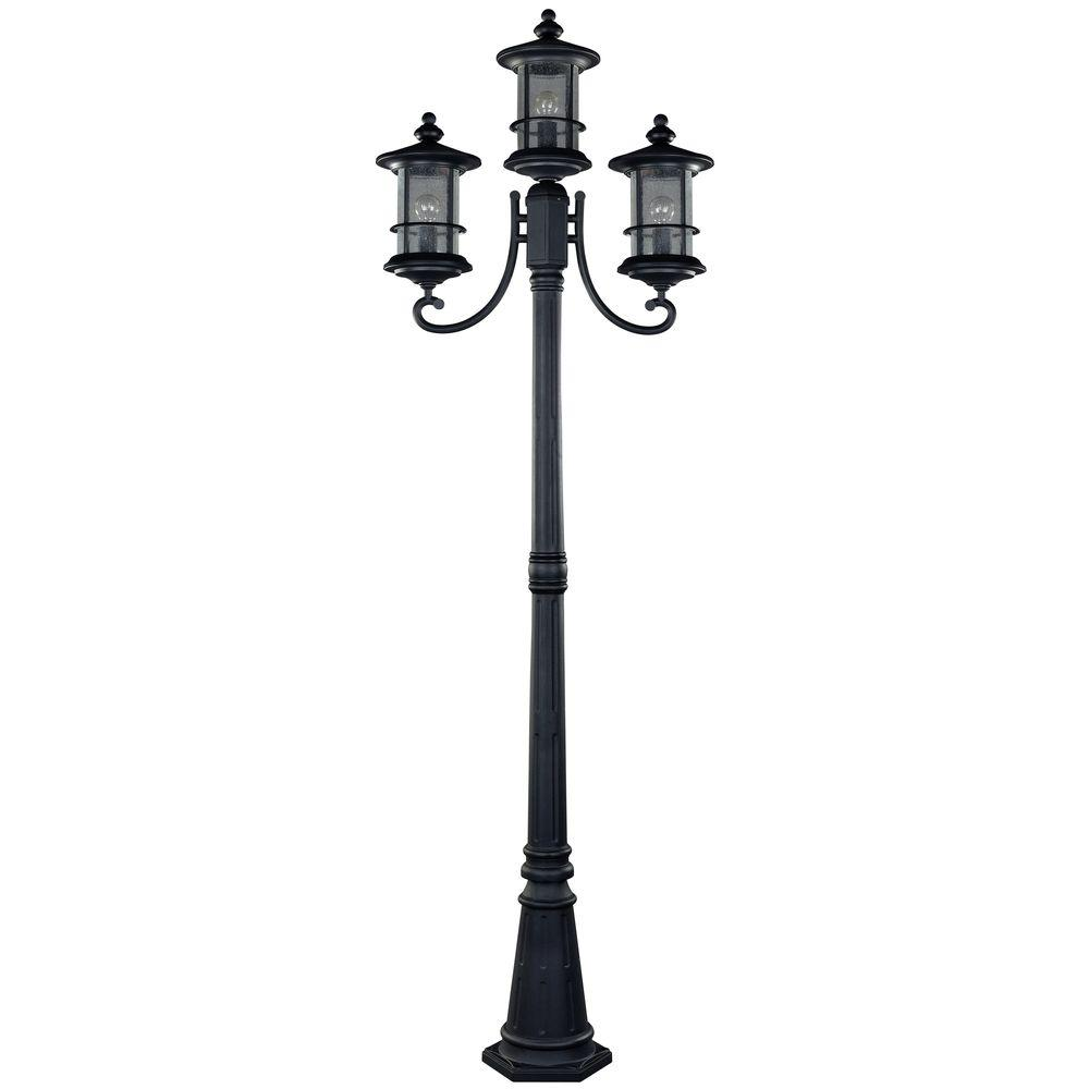 Outdoor Post Light Bulbs: CANARM Ryder 3-Light Black Outdoor Post Light With Seeded