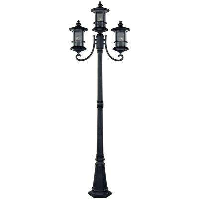 Ryder 3 Light Black Outdoor Post Light With Seeded Glass