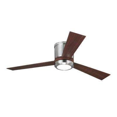 Clarity 52 in. LED Brushed Steel Flush Mount Ceiling Fan with Teak Blades and Remote Control with Wall Face Plate