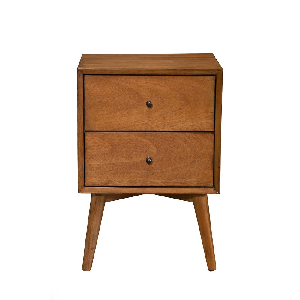 Flynn Mid Century Modern 2 Drawer Acorn Nightstand 966 02 The Home Depot